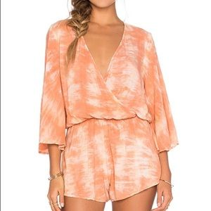 Blue Life Wild and Free Romper in Coral Tie Dye